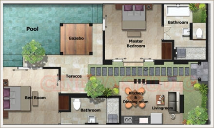 two bedroom villa layout